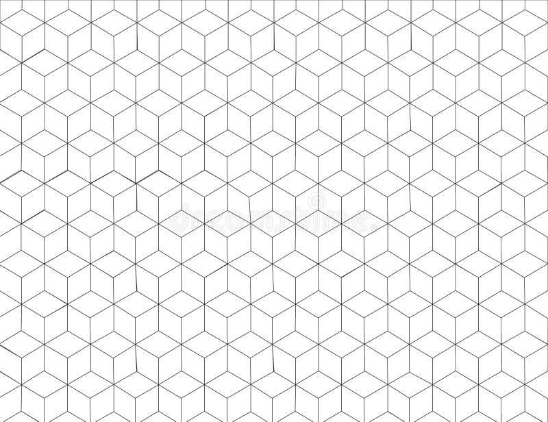 Fondo del modelo del hexágono en el color y la línea grises diseño blanco y negro del arte; Elemento gráfico moderno de la decora stock de ilustración