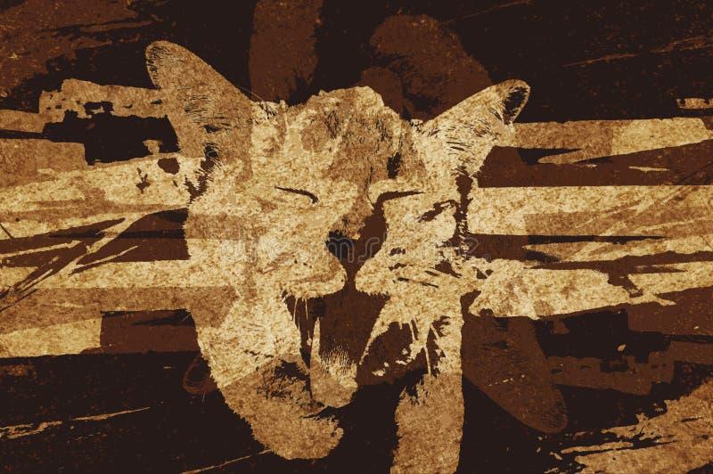 Fondo del modelo del extracto del color del marrón del grunge del arte stock de ilustración