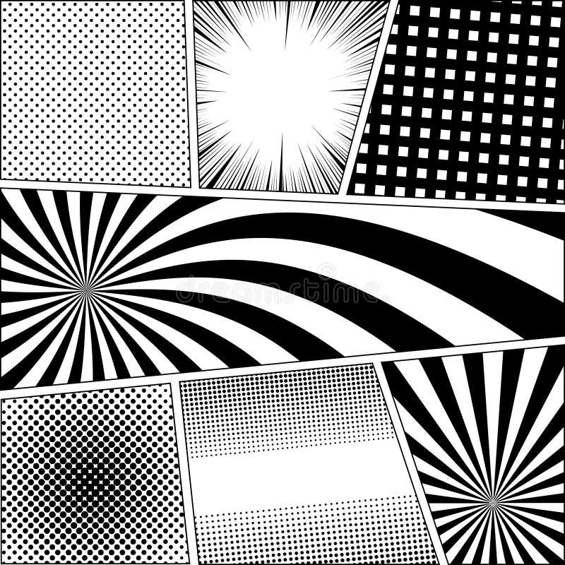 Fondo del monocromo de la página del cómic ilustración del vector