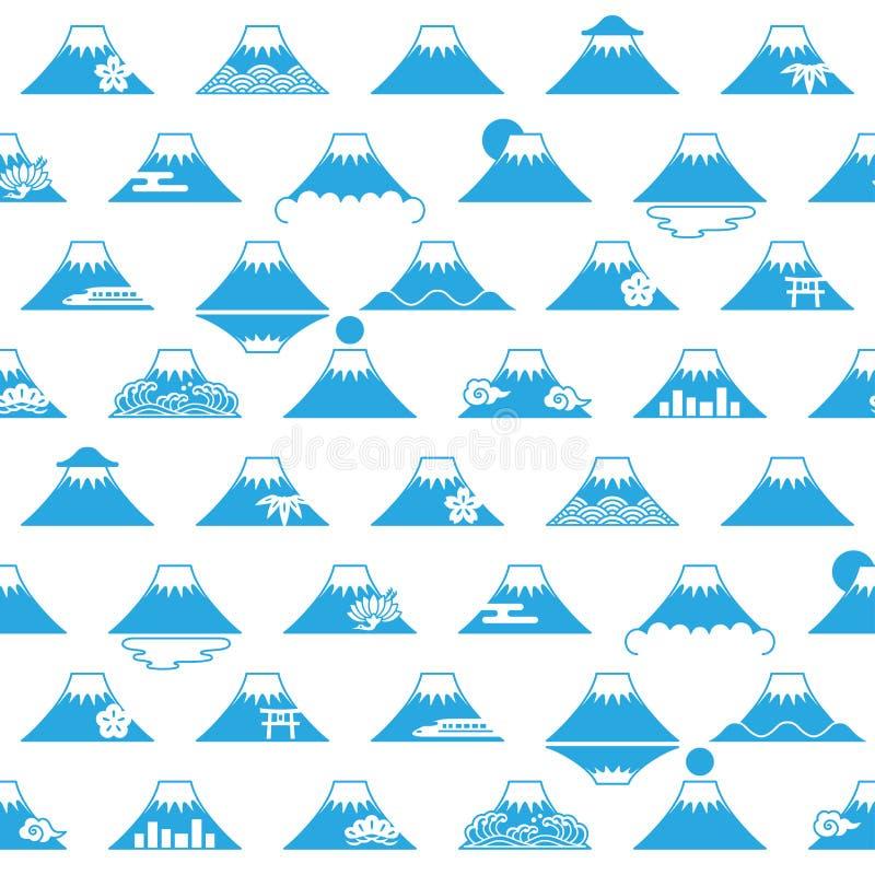 Fondo del monte Fuji con le illustrazioni giapponesi. illustrazione vettoriale