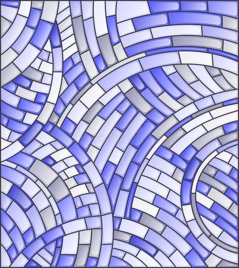 Fondo del mosaico dell'estratto dell'illustrazione del vetro macchiato delle mattonelle su un fondo scuro, tono blu illustrazione di stock