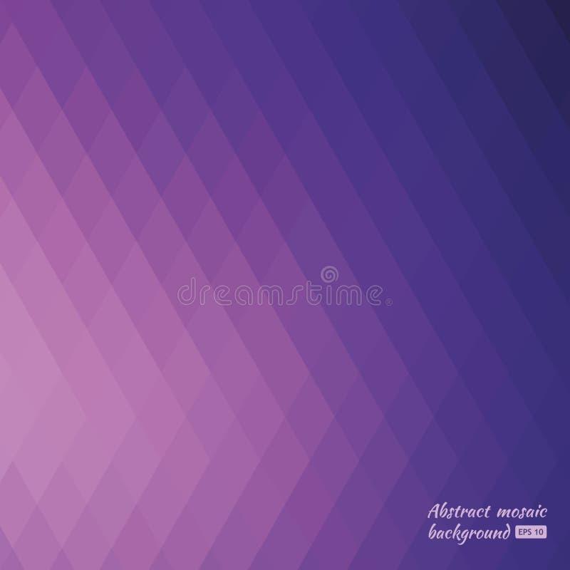 Fondo del mosaico di griglia, fondo geometrico porpora e viola astratto dei triangoli Mosaico variopinto delle forme simmetriche illustrazione di stock