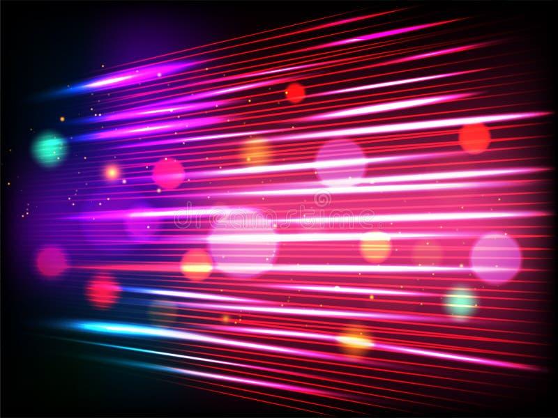 Fondo del movimiento de la velocidad con los haces luminosos y efecto del bokeh para la tecnología futurista stock de ilustración