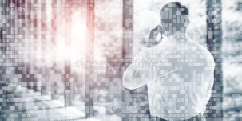 Fondo del negocio del código binario de Digitaces Papel pintado futurista del extracto de la matriz ilustración del vector