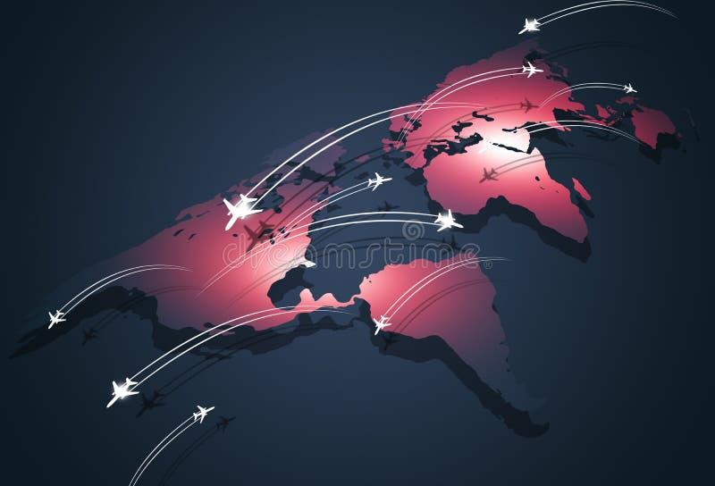 Fondo del negocio del concepto de Global Aviation ilustración del vector