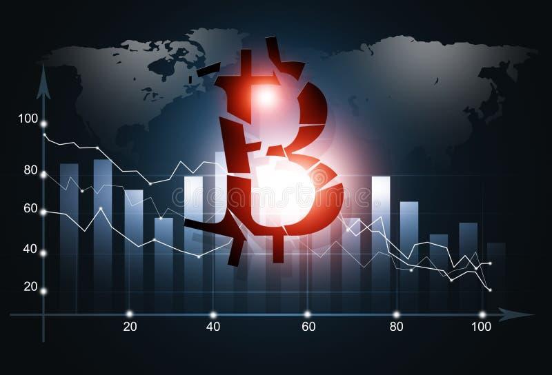 Fondo del negocio del desplome de Bitcoin stock de ilustración