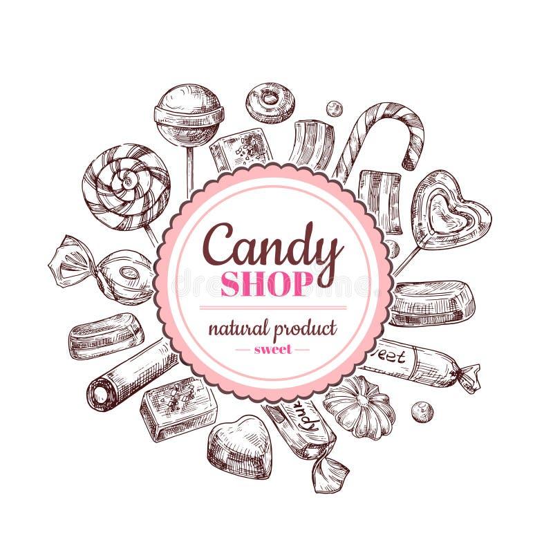 Fondo del negozio di Candy Caramella di cioccolato di schizzo, lecca-lecca e dolci della marmellata d'arance, etichetta disegnata royalty illustrazione gratis