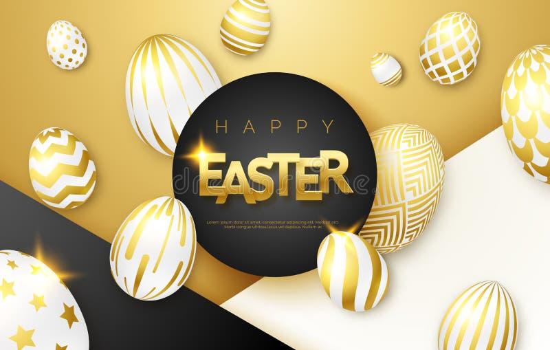 Fondo del negro, blanco y del oro de Pascua con los huevos, el marco y el texto adornados de oro realistas Ilustración del vector stock de ilustración