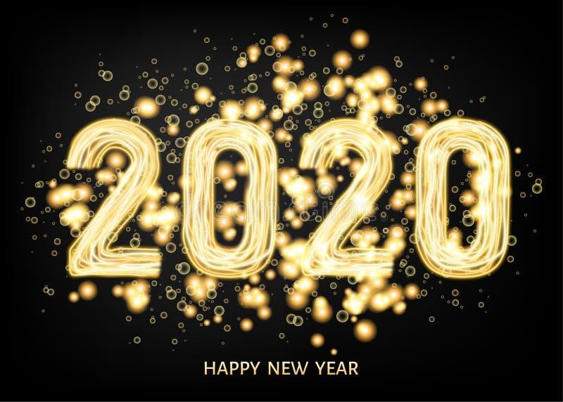 fondo del negro de la Feliz Año Nuevo 2020 con efecto luminoso de oro stock de ilustración