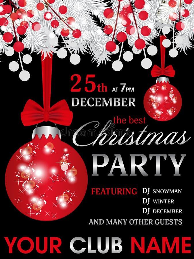 Fondo del negro de la plantilla de la invitación de la fiesta de Navidad con las ramas y la baya blancas del abeto y bolas rojas  stock de ilustración