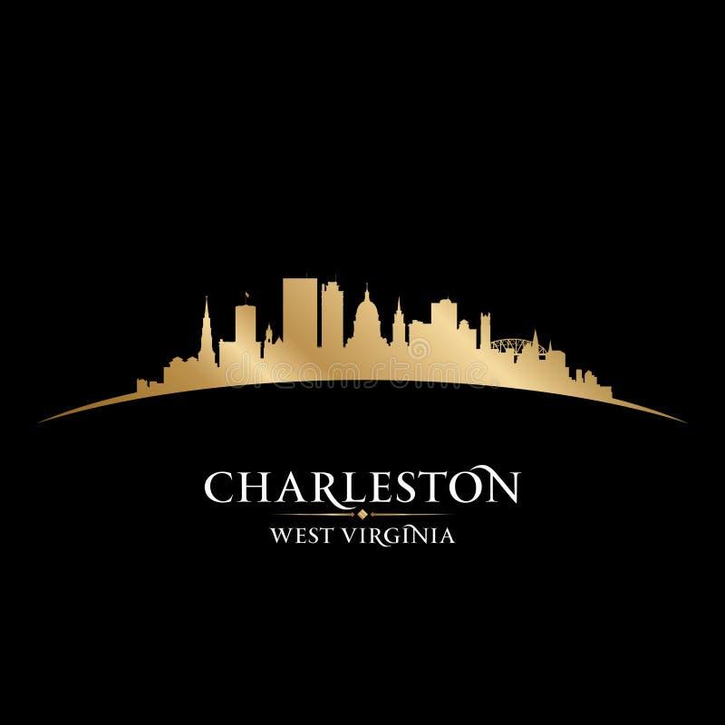 Fondo del negro de la silueta de la ciudad de Charleston West Virginia stock de ilustración