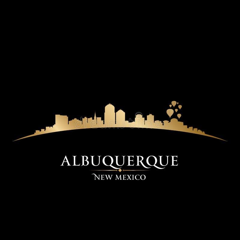 Fondo del negro de la silueta del horizonte de la ciudad de Albuquerque New México stock de ilustración