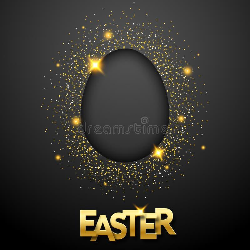 Fondo del negro de Pascua con confeti, la silueta del huevo y el texto Tarjeta de felicitación del ejemplo del vector, cartel, av libre illustration