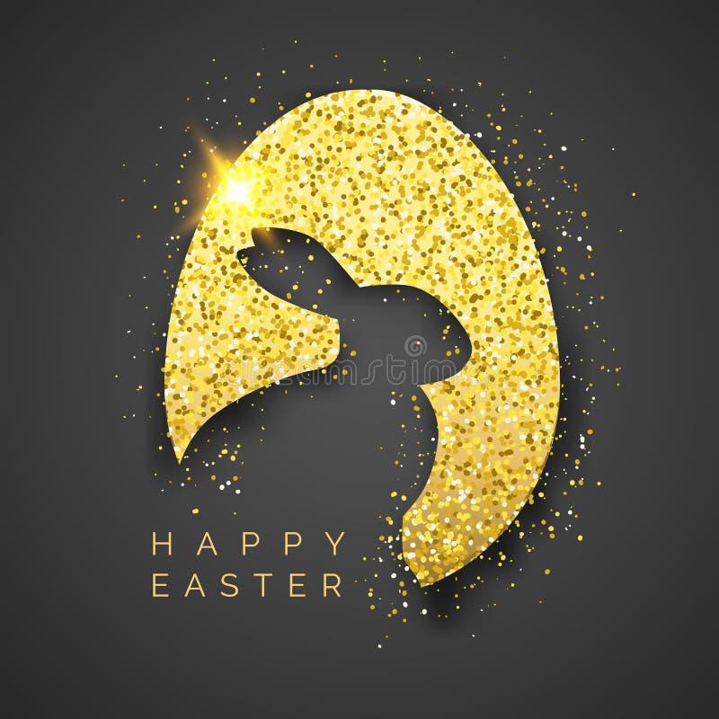 Fondo del negro de Pascua con el huevo, el confeti, la silueta del conejito y el texto de oro realistas Saludo del ejemplo del ve libre illustration