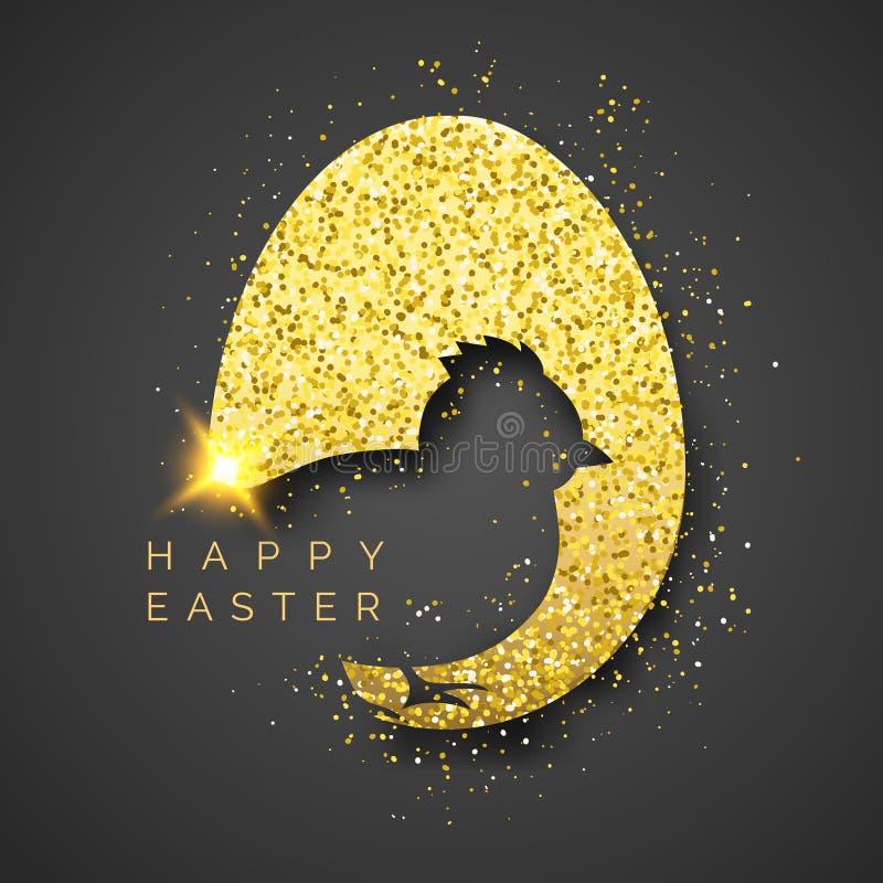 Fondo del negro de Pascua con el huevo, el confeti, la silueta del polluelo y el texto de oro realistas Saludo del ejemplo del ve libre illustration