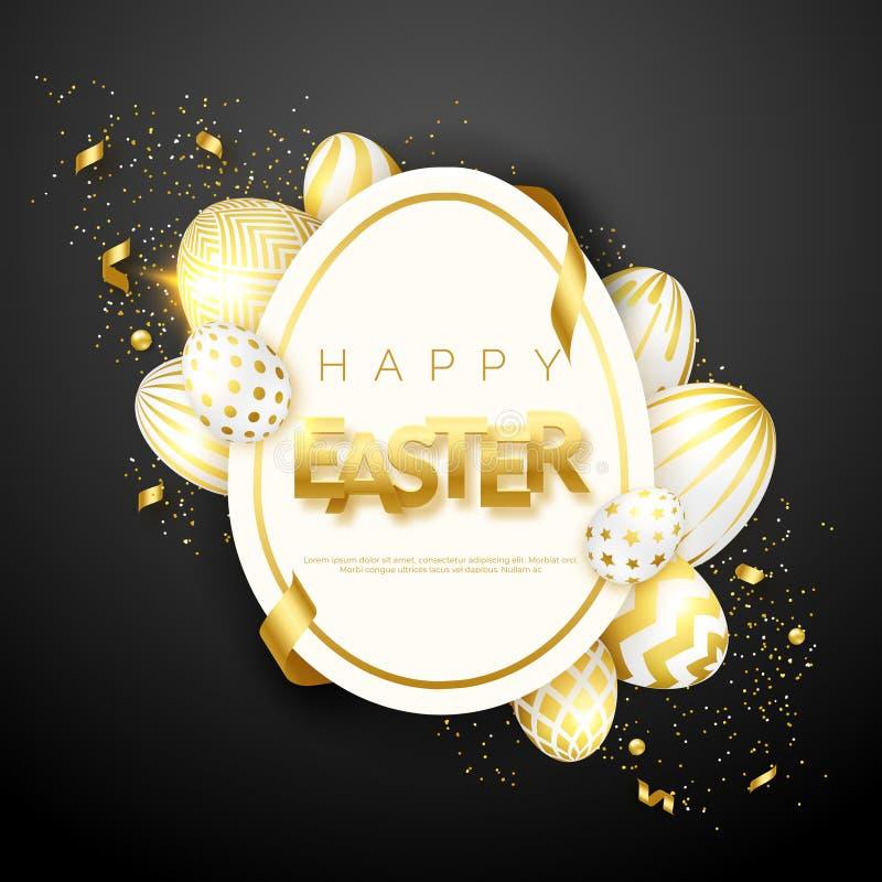 Fondo del negro de Pascua con los huevos, el marco del huevo, el confeti, el texto y cintas adornados de oro realistas Ilustració ilustración del vector