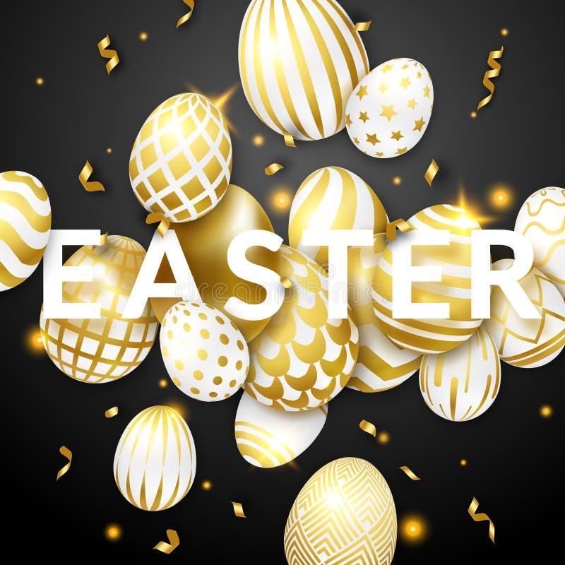Fondo del negro de Pascua con los huevos, el texto y las cintas adornados de oro realistas Tarjeta de felicitación del ejemplo de stock de ilustración