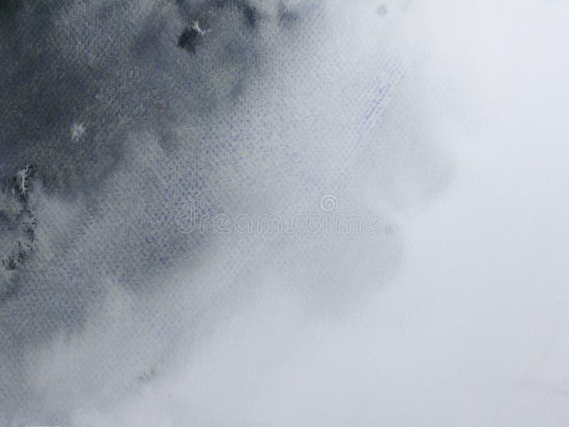 Fondo del nero dell'acquerello disegnato a mano su carta illustrazione vettoriale