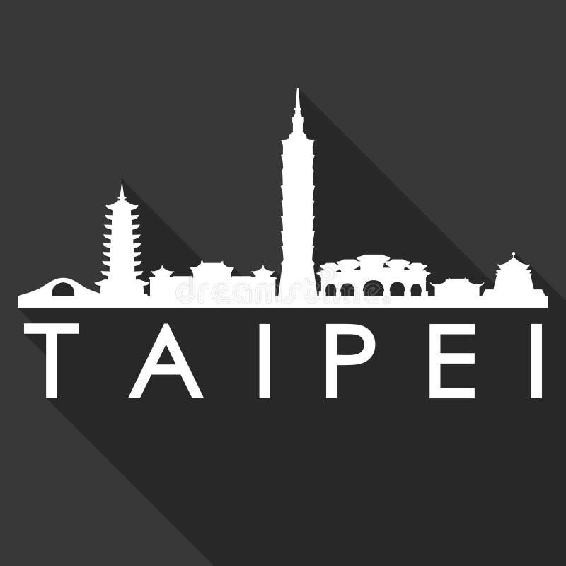 Fondo del nero della siluetta della città di Art Flat Shadow Design Skyline di vettore dell'icona di Taipei Taiwan Asia royalty illustrazione gratis