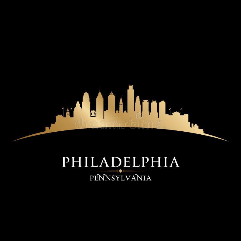 Fondo del nero della siluetta della città di Filadelfia Pensilvania illustrazione vettoriale