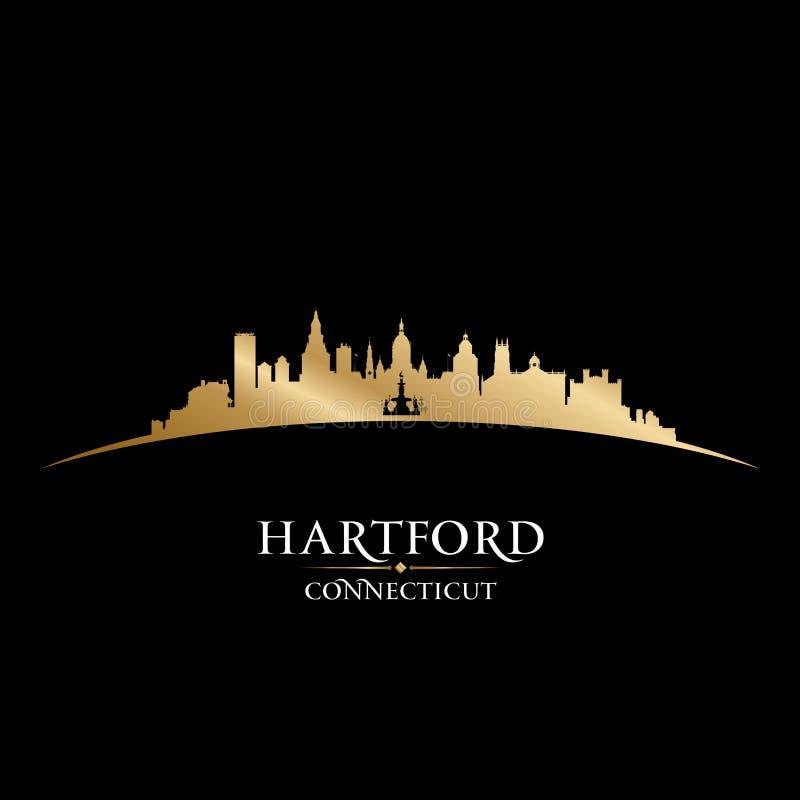Fondo del nero della siluetta della città di Hartford Connecticut royalty illustrazione gratis