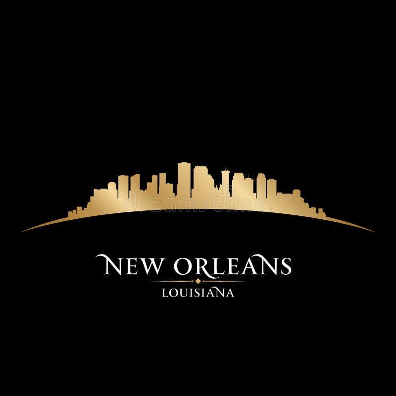 Fondo del nero della siluetta dell'orizzonte della città di New Orleans Luisiana illustrazione vettoriale
