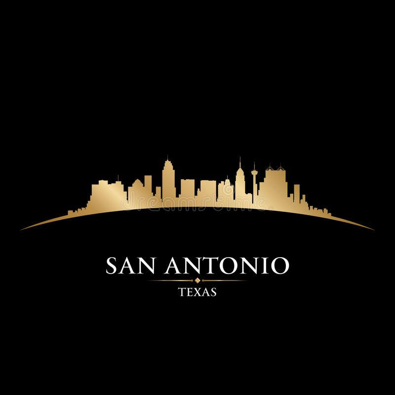 Fondo del nero della siluetta dell'orizzonte della città di San Antonio Texas illustrazione vettoriale