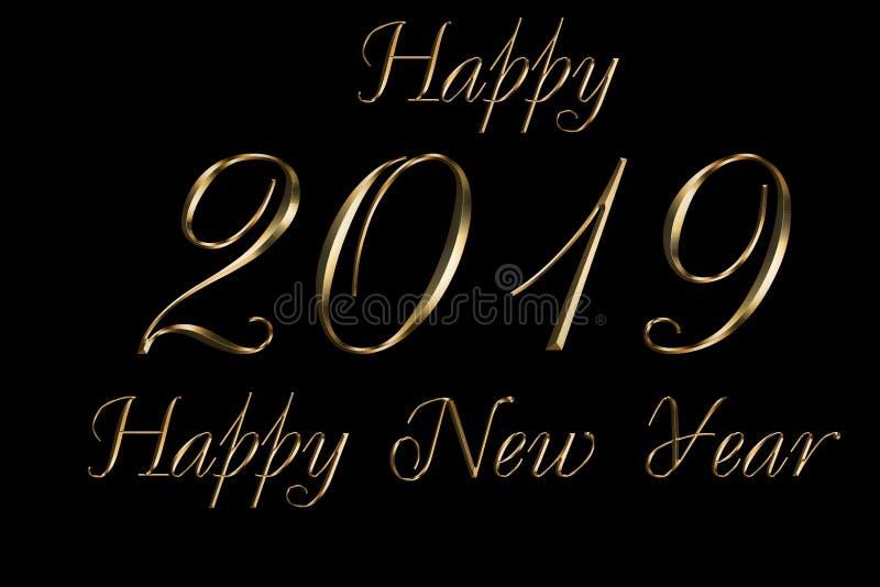 Fondo del nero di 2019 buoni anni Progettazione del testo dell'oro Illustrazione accogliente scura con i numeri dorati Migliore t immagini stock
