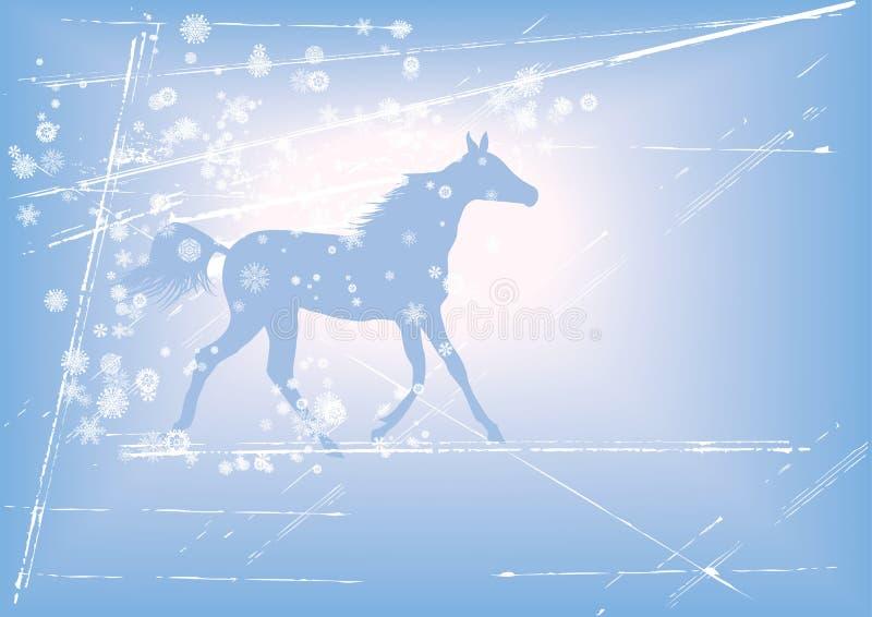 Fondo del nuovo anno con il cavallo illustrazione vettoriale