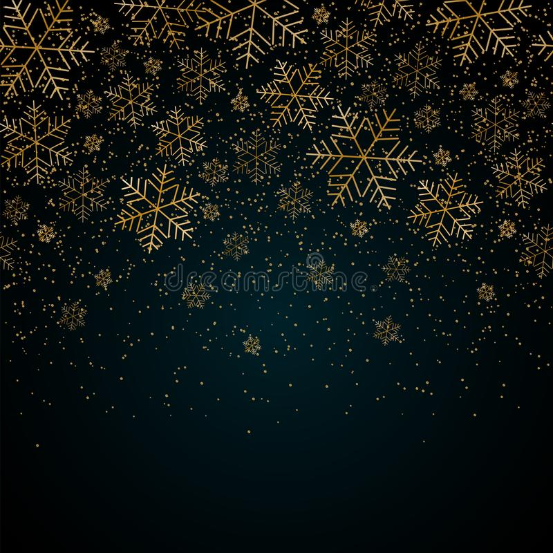 Fondo del nuovo anno di Natale con i fiocchi di neve dell'oro e brillare modello festivo blu di Natale e del nuovo anno del fondo illustrazione vettoriale