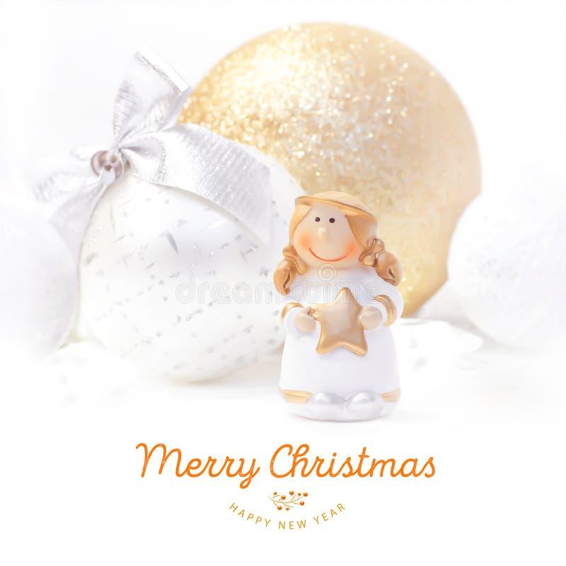 Fondo 2017 del nuovo anno e di Natale Angelo giallo Giocattolo dell'albero di Natale immagini stock libere da diritti