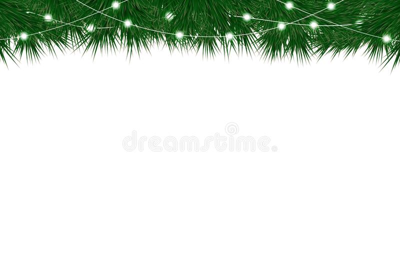 Fondo del nuovo anno e di Natale con i rami dell'abete e la ghirlanda di natale illustrazione vettoriale