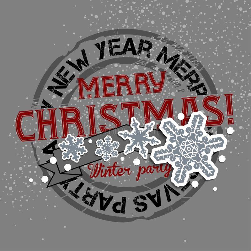 Fondo del nuovo anno e di Natale con il bollo di saluto illustrazione di stock