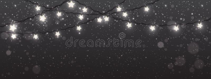 Fondo del nuovo anno e di Natale con le luci, ghirlande bianche d'ardore delle decorazioni di natale royalty illustrazione gratis