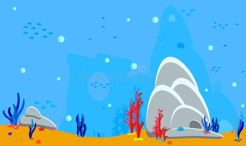 Fondo del oc?ano Parte inferior de mar del paisaje del panorama Activos del juego para las etiquetas engomadas o las aplicaciones libre illustration