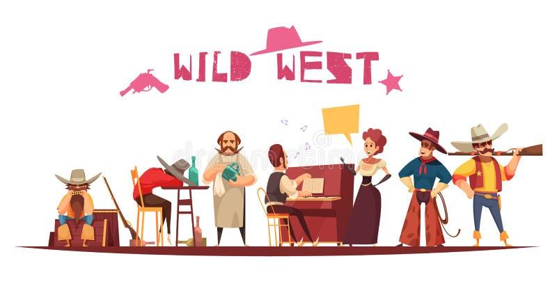 Fondo del oeste salvaje de la historieta ilustración del vector