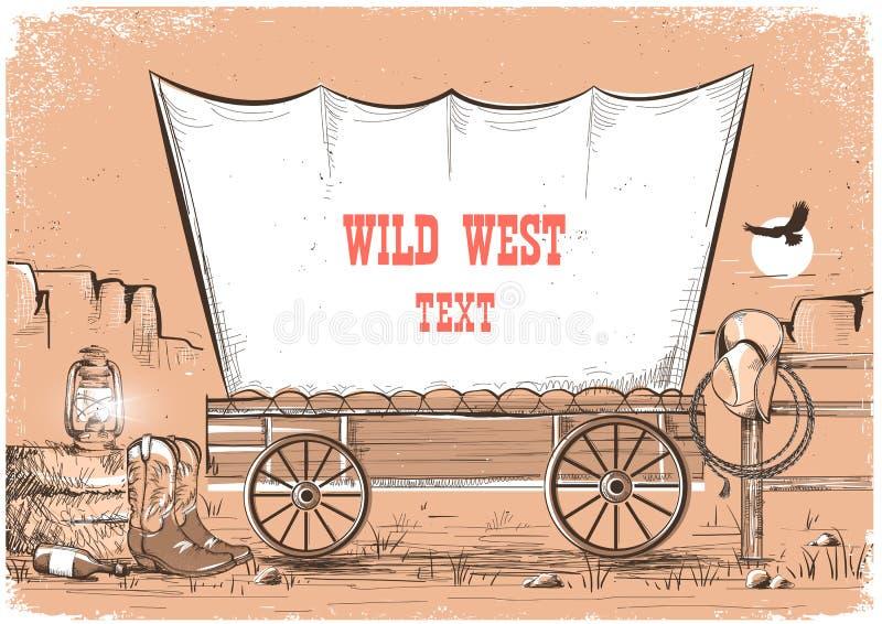 Fondo del oeste salvaje del carro para el texto ilustración del vector