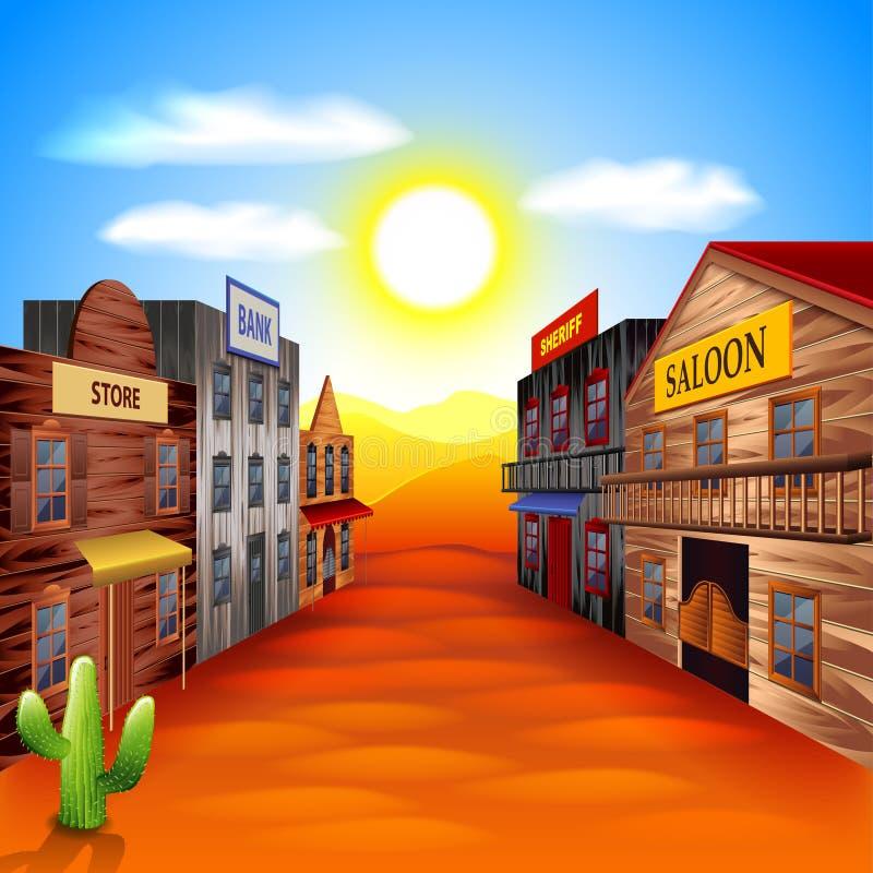 Fondo del oeste salvaje del vector de la ciudad ilustración del vector