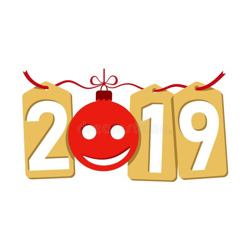 Fondo del oro del Año Nuevo de Happe Aislado 2019 números de oro, etiquetas, chuchería, emoticon Bola plana de la Navidad, sonrie libre illustration