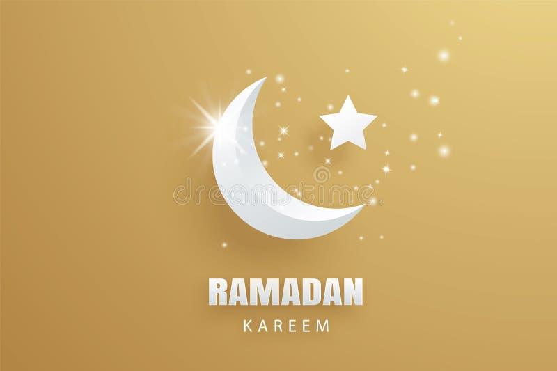 Fondo del oro del arte del papel de tarjeta de felicitación de Ramadan Kareem Eid Muba ilustración del vector