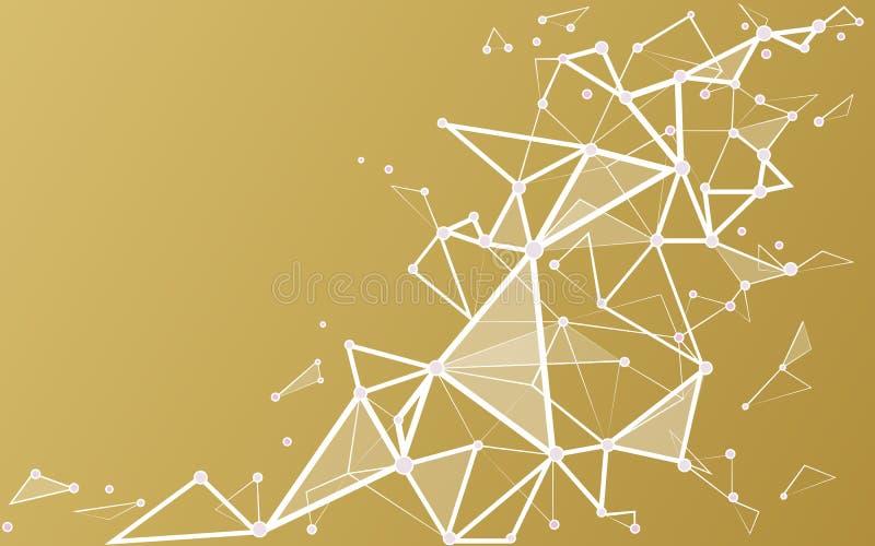 Fondo del oro blanco con los puntos y las líneas de conexión libre illustration