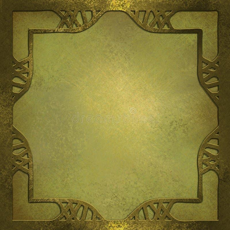 Fondo del oro con el marco del diseño ilustración del vector