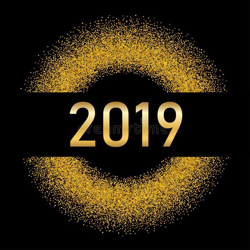 Fondo del oro de la Feliz Año Nuevo Número de oro, círculo, negro aislado Brillo, chispa ligera, reflejo, confeti del brillo libre illustration