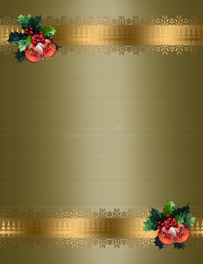 Fondo del oro de la frontera de la Navidad stock de ilustración