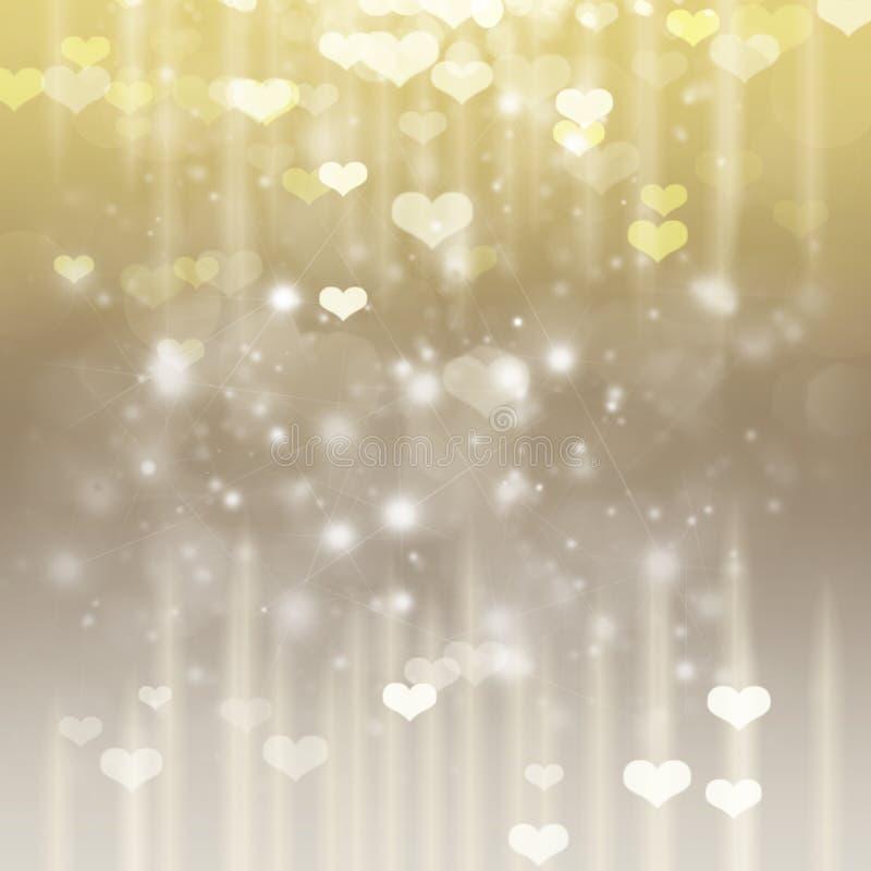 Fondo del oro del anf del siver del día de tarjetas del día de San Valentín ilustración del vector