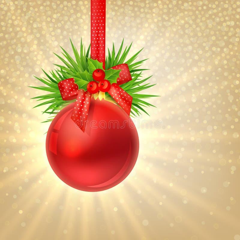 Fondo del oro del brillo de la Navidad con la bola roja de la Navidad stock de ilustración