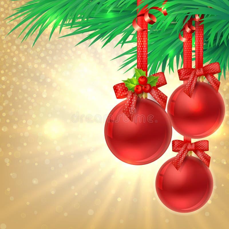Fondo del oro del brillo de la Navidad con las bolas rojas de la Navidad ilustración del vector