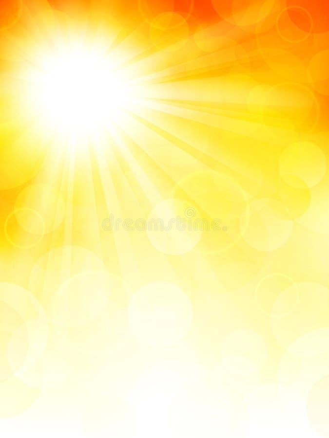 Fondo del otoño con el sol ilustración del vector