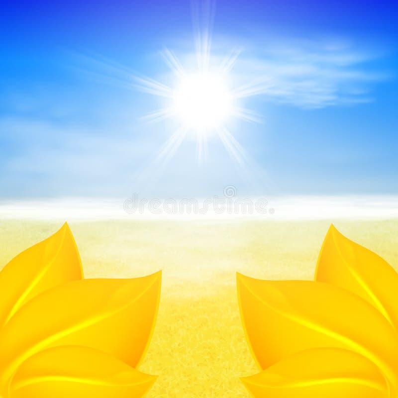 Fondo del otoño con el sol brillante ilustración del vector