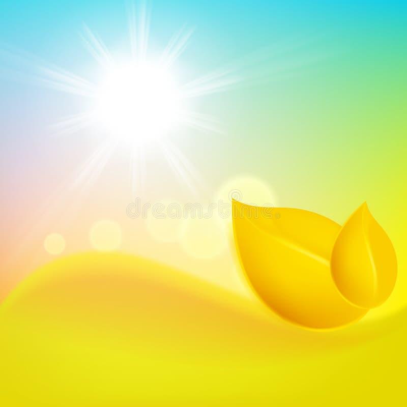 Fondo del otoño con la hoja amarilla y el sol stock de ilustración